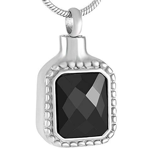 KBFDWEC Colgantes de Cenizas de Diamantes de imitación Negros, urnas de Recuerdo de Cenizas conmemorativas para Cenizas, Colgante de urna de cremación, Collar para Hombre
