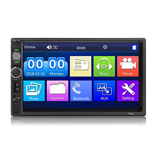 KKmoon 7 Zoll 2 Din Autoradio Doppel Din Car Stereo Receiver BT Digital Touchscreen Auto MP5 Player Multimedia Audio Spieler, USB/TF/AUX/FM In, BT Freisprechfunktion, mit Fernbedienung