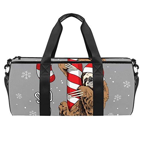 Bolso de lona con diseño de perezoso marrón en rojo de Papá Noel en Lollipop, bolsa de viaje para gimnasio, deportes, baile, viajes, fin de semana