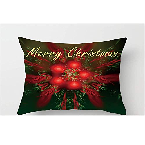 Qishi 2 Pieces Christmas Cushion Cover Red Merry Christmas Decoration Pillow Sofa Home Pillow Case