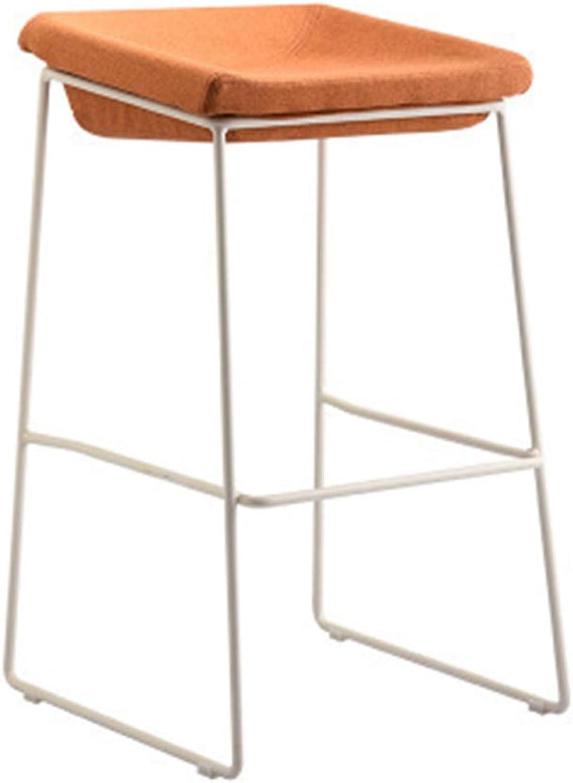 DingHome-ca Barstools - Wrought Iron Bar Stool Modern Minimalist Creative High Chair Restaurant Reception Lounge Chair Cafe Home (Black Legs White Legs)