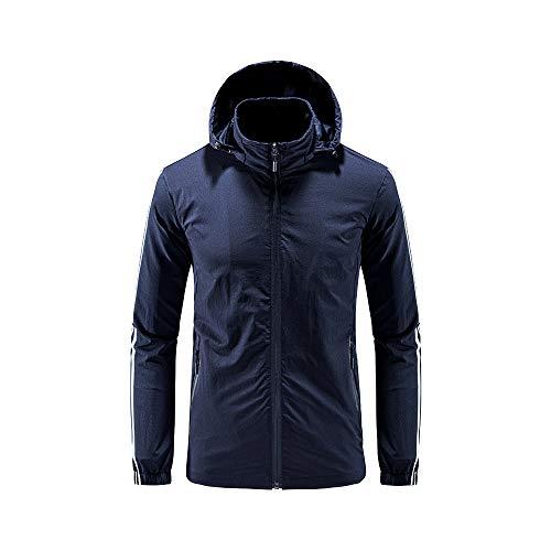 iMixCity Chaqueta cortavientos con capucha para mujeres y hombres Abrigo impermeable unisex transpirable de secado rápido al aire libre (L, Hombres - Azul Marino)