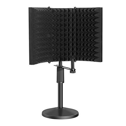 Mikrofon Isolations Schirm, AGPtEK Kompakter Mikrofon Isolationsschutz mit Tisch Mikrofon Ständer, Schallabsorbierender Mic Reflektor aus Schaumstoff für Tonaufnahmen,...