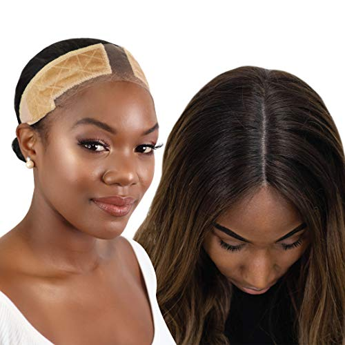 MILANO COLLECTION Lace WiGrip Velvet Comfort Wig Grip Band for Lace Wigs and Frontals with Reinforced Swiss Lace by HAIRLINE and PART For Seamless Transition (PATENTED)- Nude