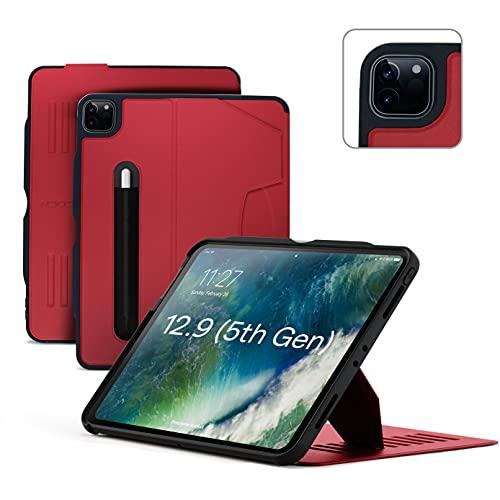ZUGU Funda para iPad Pro 12.9 2021 5.ª Generación, Case Protector Pero Delgado con 10 Ángulos de Visión Ajustables Magnéticos, Carga Inalámbrica del Apple Pencil, Auto Reposo/Activación [Rojo]