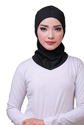 ❤️ ATTIQA - Hijab deportivo para mujeres musulmanas con velo I Hiyab velo bufanda turbante pashmina gorro chal abaya islámico I Atletas de fitness y cardio I Dri-FIT Elástico Talla Única - Negro