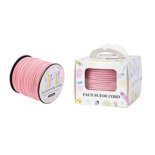 Beadthoven - Cordón de gamuza sintética de 3 mm, color rosa y plano, cordón de cuero para manualidades, con carrete para hacer pulseras y collares