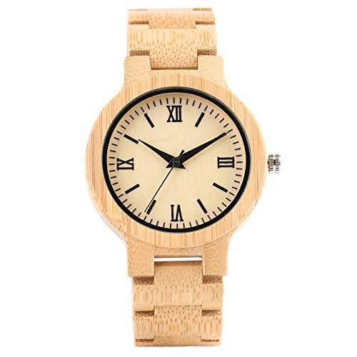 STEDMNY Holzuhr Holzuhr Herren Armreif Uhren Klappverschluss Römische Ziffern Anzeige Quarz Armbanduhr Männliche Uhr, Weiß