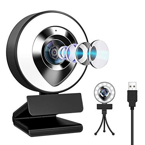 ウェブカメラ LEDライト フルHD 1080P 30FPS 高画質 200万画素 X-Kim webカメラ デュアルマイク内蔵 ノイズ対策 ストリーミング pcカメラ 外付け 広角 USBカメラ 三脚付き 小型 自動光補正 在宅勤務 テレワーク 挿すだけ使える 動画配信 ビデオ会議 オンライン授業 WindowsXP/7/8/10 AndroidTV skype Youtube zoom対応