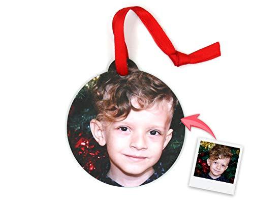 Getsingular Adornos de Navidad para árbol Personalizados con Foto | Adornos de Madera Doble Cara con Foto | Máxima Calidad de impresión | Modelo Bola
