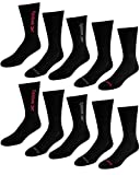 Reebok Men's Athletic Performance Cushion Crew Socks With Moisture Control (10 Pack) (Shoe Size: 6-12.5, Black Assorted)