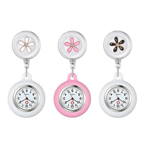 Krankenschwester Uhr Set Blütenblatt Dehnbare 3pcs, Weiß Krankenschwesteruhr Analog digital Schwesternuhren Silikon FOB Ansteckuhr Set für Damen Frauen