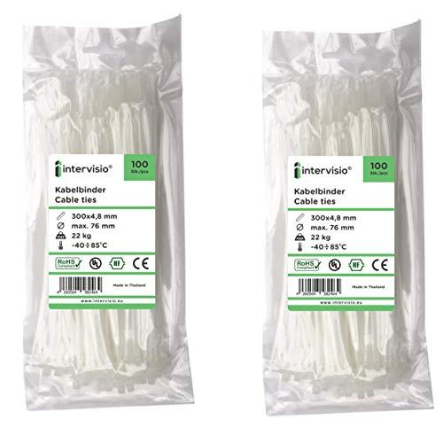 intervisio Set Kabelbinder 300mm x 4,8mm, Nylon, Universalbinder, weiß, 200 Stück Binders