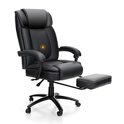 PHI VILLA Office Chair with Foot Rest and High Back,Ergonomic Office Chair with Massage Lumbar Support,Executive Desk Chair,Max Weight Capacity 400 lbs,PU Leather,Black