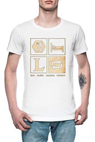 Eat Sleep League Repeat Hombre Camiseta tee Blanco Men's White T-Shirt