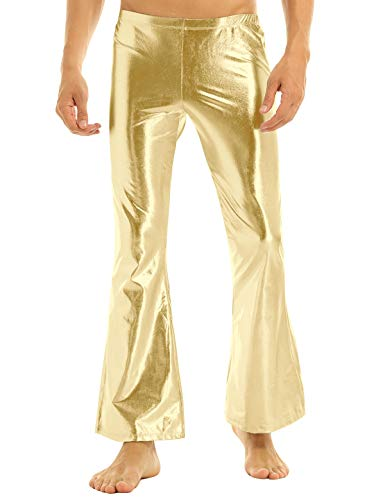 iEFiEL Adult Men's Shiny Metallic 70's Disco Dude Pants Leisure Long Pants Flared Bell Bottom Trousers Costume (X-Large, Gold)