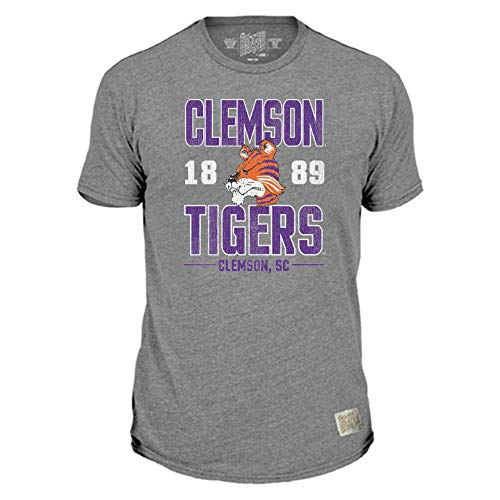 Original Retro Brand NCAA Gray Distressed T-Shirts - Established with Home Town (Clemson Tigers, Large)