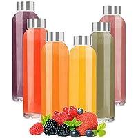 Botellas de Agua de Cristal - Set de 6 Botellas Reutilizables de Vidrio sin BPA con Funda de Nailon y Tapa a Prueba de Fugas Para Batidos, Zumos, Té y Otras Bebidas Para Adultos y Niños - 6 x 500 ml