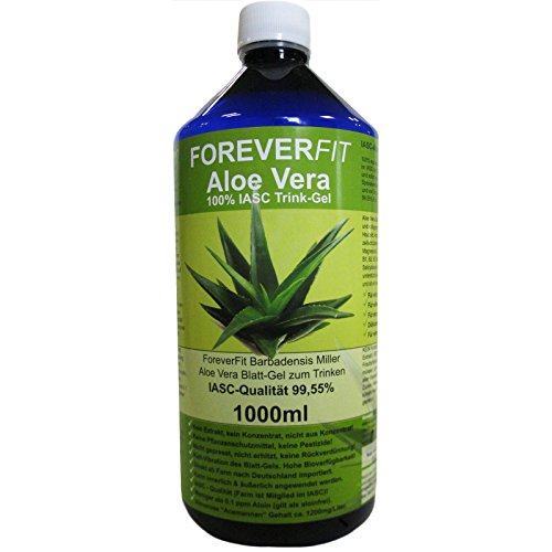 ForeverFit Aloe Vera Trinkgel 1 x 1000ml Barbadensis Miller Blattgel unverdünnt KEIN Saft KEIN Konzentrat OHNE künstliche Vitamine. Acemannan bis 1200mg/Liter. 30240