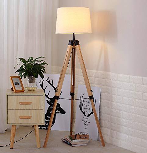 Lámpara de Pie Iluminación Moderna con Trípode Color Marrón Con Interruptor de Pie Sombra de Tela Max 40W (F-001)