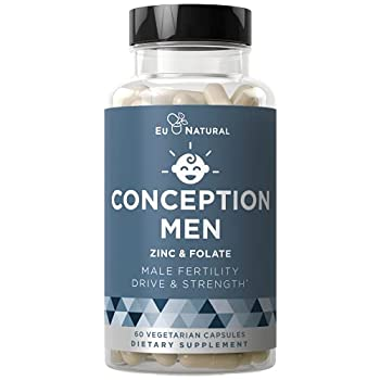Conception Men Fertility Vitamins – Male Optimal Count Motility Strength Healthy Volume Production – Zinc Folate Ashwagandha Pills – 60 Vegetarian Soft Capsules
