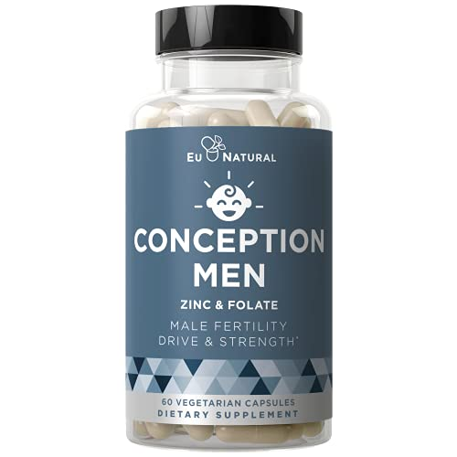 Conception Men Fertility Vitamins – Male Optimal Count, Motility Strength, Healthy Volume Production – Zinc, Folate, Ashwagandha Pills – 60 Vegetarian Soft Capsules