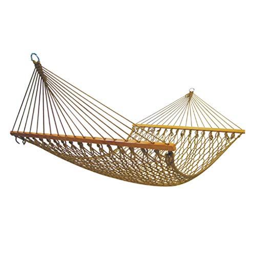 Katoenen mesh houten hangmat schommelstoel voor tuin, slaapkamer, veranda, binnen/buiten, draagbare dikke canvas anti-roll hangmatten S