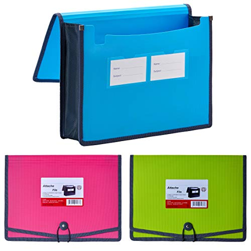 FANWU 3 Pack Plastic Expanding File Wallet Document Organizer with Elastic Cord & Button Closure, Letter Size, 3.5' Expansion, Poly A4 Expandable File Folder for School Office Home Organization