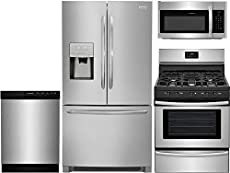 """Frigidaire 4 Piece Stainless Steel Kitchen Package with FGHD2368TF 36"""" French Door Fridge, FFGF3052TS 30"""" Freestanding Gas Range, FFBD2412SS 24"""" Full Console D/W and FFMV1645TS 30"""" Over-the-Range M/W"""