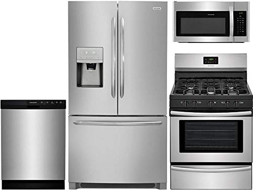 Frigidaire 4 Piece Stainless Steel Kitchen Package with FGHD2368TF 36' French Door Fridge, FFGF3052TS 30' Freestanding Gas Range, FFBD2412SS 24' Full Console D/W and FFMV1645TS 30' Over-the-Range M/W