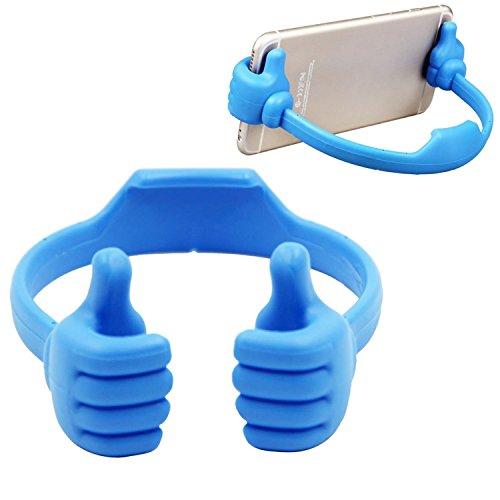 Superideal Flexible lindo pulgar diseñado Smartphone Tablet escritorio mesa soporte pantalla soporte universal para telefonos celulares iPad Mini iPhone 6 Plus 5 5 C 5 Samsung Galalxy S3 S4 S5 S6 Note 2 3 4 HTC Sony Nokia LG Motorola Blackberry (Azul)