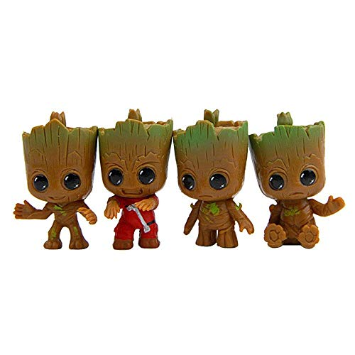 4Pcs Baby Groot Keychains Guardians of Galaxy Tree Man Figure Pendant Keyrings Best Gift for Kids Friends (4 Pcs Groot Figurines)