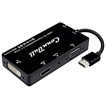 HDMI Adapter ConnBull Multiport HDMI to VGA DVI HDMI Synchronous Display with Audio 4 in 1 Video Converter 1080p for Laptop Monitor Projector Black