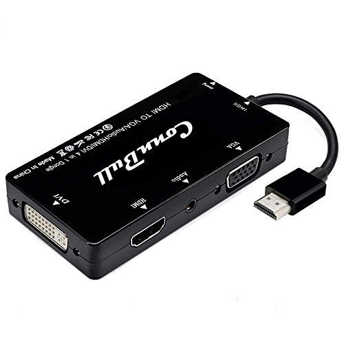 ConnBull Adaptador HDMI, Visualización Sincronizada 1080P HDMI a VGA DVI HDMI Audio...