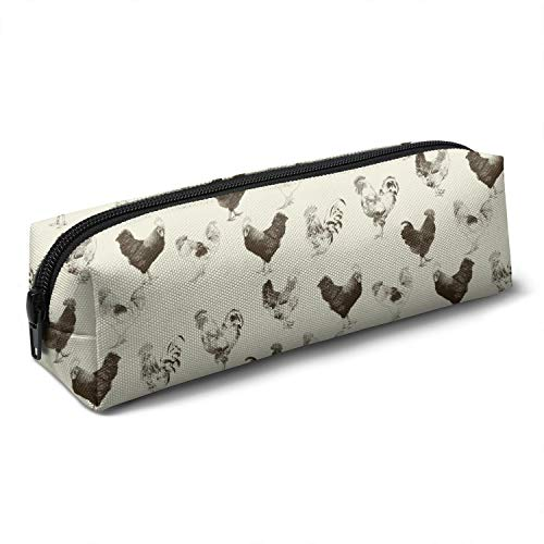 Chicken Cock Rooster Cute Colorful Multifunctional Canvas Pencil Bag, Various Patterns