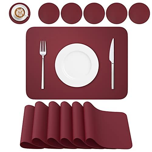 BANNIO Tovaglietta,PVC Tovagliette Cucina Lavabili Set di 6 Tovagliette e 6 Sottobicchieri ,Tavola Antiscivolo Resistente al Calore Tovagliette per Tavola,41x31cm,Rosso