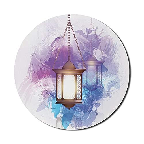 Laternen-Mauspad für Computer, antiker traditioneller Stil mystisches symbolisches Element-Design, rundes rutschfestes dickes Gummi-modernes Gaming-Mousepad, 8 'rundes, lila gelbes Blau