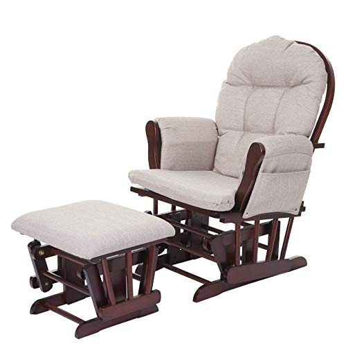 Mendler Relaxsessel HWC-C76, Schaukelstuhl Sessel Schwingstuhl mit Hocker - Stoff/Textil, Creme-grau, Gestell braun