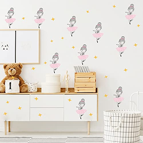 HUIJK Dormitorio decorativo lindo niña bailando habitación de los niños dormitorio sala de estar entrada paisajismo pared decorativo pegatinas decorativo papel pintado