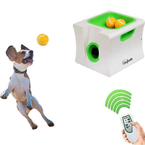 Dog Ball Launcher, IDOGMATE Mini Automatic Rechargeable Ball Thrower for Small Dog