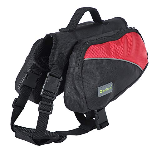 Wellver Dog Backpack Saddle Bag Outdoor Travel Packs for Hiking Walking Camping,Large