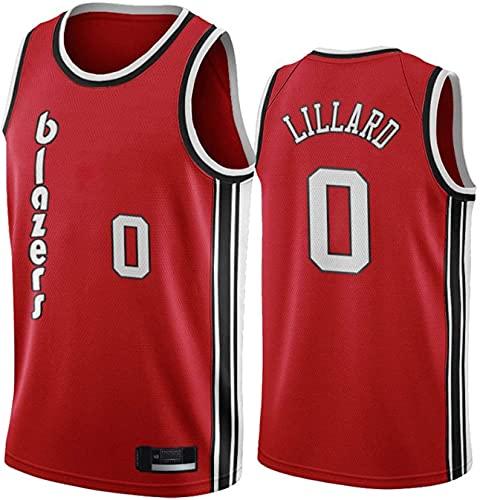 Damian Lillard # 0 Uniforme de Baloncesto de los Hombres clásicos, Portland Trail Blazers Bordado sin Mangas Jersey de Baloncesto, Ropa Deportiva de poliéster Transpirable