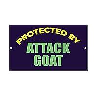 ヴィンテージ金属看板男洞窟の装飾、攻撃山羊Bによって保護された、壁サイン面白い鉄絵ヴィンテージ金属プラーク装飾警告サイン吊りアートワークポスターバーパーク