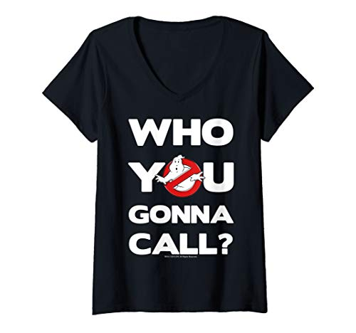 Womens Ghostbusters Who You Gonna Call Logo V-Neck T-Shirt, 4 colors, S to 2XL