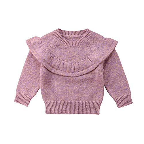 newEmergingstyle Newborn Infant Baby Girl Sweater,Kid Long Sleeve Ruffle Warm Autumn Winter Pullover Tops,0-3 Years Pink