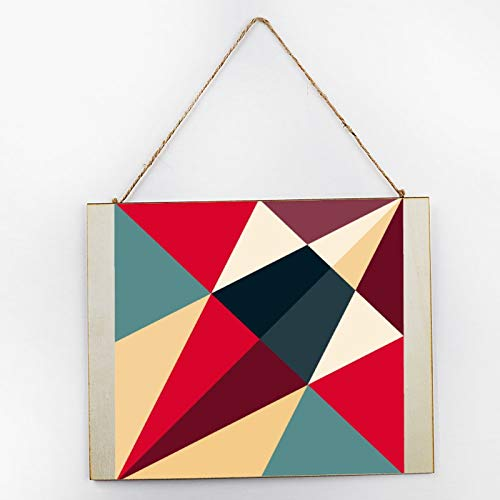 Vintage Large Wooden Hand Painted Sign Plaque Gift Kitchen Living Room Decor Handmade by Vintage Product Designer Triangle Quilt White Black Red Pattern