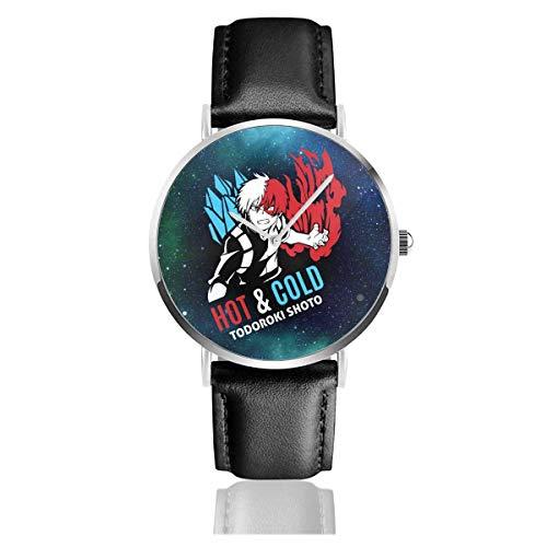 Orologio da Polso al Wrist Watch Analogue Quarzo con Cinturino in PU Watches Hot N Cold Todoroki Shoto My Hero Academia