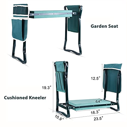 Ohuhu Garden Kneeler Bench with Two Pouches