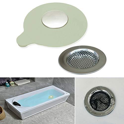 Seatery 2PCS Bathtub Stopper Hair Catcher Kit, Bathtub Drain Strainer, Tub Stopper Plug Cover, Sink Filter, Silicone Drain Stopper for Bathroom, Laundry (Grey)