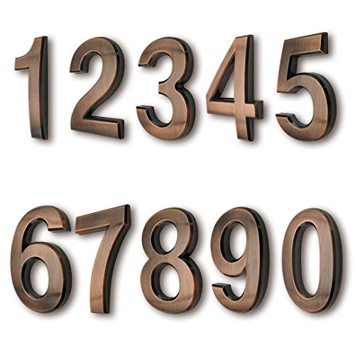 3 Inch Mailbox Numbers, House Address Number Stickers(10 Pcs, 0-9), for Apartment Door/Home Room/Gate, Bronze Shining, by FANXUS.(3 inch 0-9, Bronze)